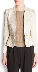 Boucl Zipped Jacket - style: single breasted blazer; pattern: herringbone/tweed; predominant colour: ivory; secondary colour: gold; occasions: evening; length: standard; fit: tailored/fitted; fibres: cotton - 100%; sleeve length: long sleeve; sleeve style: standard; collar break: low/open; pattern type: fabric; texture group: tweed - light/midweight