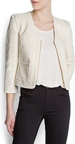 Metallic Boucl Jacket - pattern: plain; collar: round collar/collarless; style: boxy; predominant colour: ivory; occasions: casual, evening, work, occasion; length: standard; fit: straight cut (boxy); fibres: cotton - mix; sleeve length: 3/4 length; sleeve style: standard; texture group: cotton feel fabrics; collar break: medium; pattern type: fabric