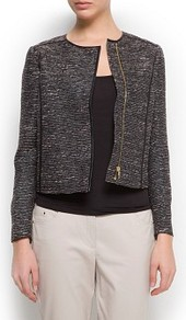 Asymmetric Fastening Bouclé Jacket - pattern: plain; collar: round collar/collarless; style: boxy; predominant colour: charcoal; occasions: casual, evening, work, occasion; length: standard; fit: straight cut (boxy); fibres: polyester/polyamide - mix; sleeve length: long sleeve; sleeve style: standard; collar break: high; pattern type: fabric; texture group: other - light to midweight