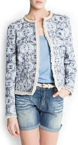 Ethnic Fabric Jacket - collar: round collar/collarless; style: boxy; predominant colour: white; secondary colour: navy; occasions: casual, evening, work; length: standard; fit: straight cut (boxy); fibres: cotton - mix; sleeve length: long sleeve; sleeve style: standard; collar break: high; pattern type: fabric; pattern size: small &amp; busy; pattern: patterned/print; texture group: woven bulky/heavy