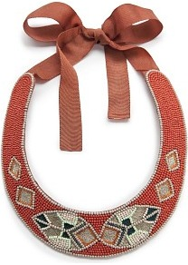 Ethnic Beaded Choker - predominant colour: coral; occasions: evening, holiday; style: choker/collar; length: short; size: large/oversized; material: fabric; finish: plain; embellishment: beading