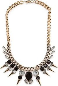 Spikes And Stones Necklace - predominant colour: gold; secondary colour: black; occasions: evening, occasion; style: standard; length: long; size: large/oversized; material: chain/metal; trends: metallics; finish: plain; embellishment: jewels