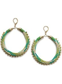 Woven Hoop Earrings - predominant colour: emerald green; secondary colour: gold; occasions: evening, occasion, holiday; style: hoop; length: long; size: large/oversized; material: chain/metal; fastening: pierced; finish: plain; embellishment: crystals