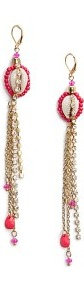 Touch Shell Strass Earrings - predominant colour: coral; secondary colour: gold; occasions: evening, occasion, holiday; style: drop; length: extra long; size: standard; material: chain/metal; fastening: pierced; finish: metallic; embellishment: beading