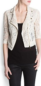Lace Biker Jacket - pattern: plain; style: biker; collar: asymmetric biker; length: cropped; fit: slim fit; predominant colour: ivory; occasions: casual, evening, work; fibres: cotton - mix; sleeve length: 3/4 length; sleeve style: standard; texture group: lace; collar break: medium; pattern type: fabric; embellishment: lace