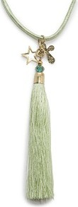 Tasseled Necklace - predominant colour: pistachio; secondary colour: gold; occasions: evening, work, occasion, holiday; style: tassel; length: long; size: standard; material: fabric; finish: plain; embellishment: beading