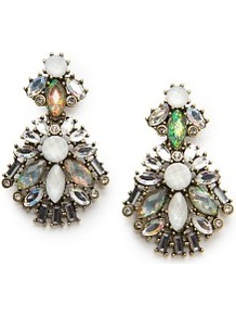 Holographic Crystal Earrings - occasions: evening, occasion, holiday; predominant colour: multicoloured; style: drop; length: long; size: large/oversized; material: chain/metal; fastening: clip on; finish: plain; embellishment: jewels; secondary colour: clear