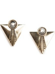 Metal Triangle Earrings - predominant colour: gold; occasions: casual, evening, occasion, holiday; style: drop; length: mid; size: standard; material: chain/metal; fastening: clip on; finish: metallic; embellishment: jewels