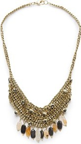 Touch Embellished Chains Necklace - predominant colour: gold; occasions: evening, occasion, holiday; style: multistrand; length: mid; size: large/oversized; material: chain/metal; trends: metallics; finish: plain; embellishment: beading