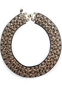 Touch Metal Appliqués Necklace - predominant colour: gold; occasions: evening, occasion; style: choker/collar; length: choker; size: large/oversized; trends: metallics; finish: plain; material: faux leather; embellishment: chain/metal