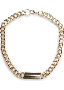 Id Choker - predominant colour: gold; occasions: casual, evening, work, occasion, holiday; style: choker/collar; length: short; size: standard; material: chain/metal; finish: plain; embellishment: chain/metal