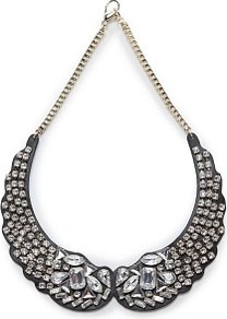 Crystal Embellished Bib Necklace - predominant colour: black; occasions: evening, occasion; style: bib; length: short; size: large/oversized; finish: plain; material: faux leather; embellishment: crystals; secondary colour: clear