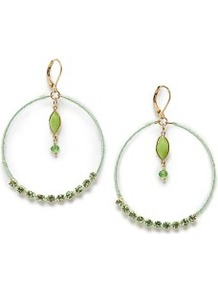 Crystal Embellished Hoop Earrings - predominant colour: pistachio; secondary colour: gold; occasions: evening, occasion, holiday; style: hoop; length: long; size: large/oversized; material: chain/metal; fastening: pierced; finish: plain; embellishment: jewels