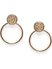 Lion Hoop Earrings - predominant colour: gold; occasions: casual, evening, occasion, holiday; style: hoop; length: long; size: large/oversized; material: chain/metal; fastening: clip on; finish: metallic