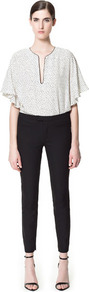 Technical Fabric Trousers - pattern: plain; waist: mid/regular rise; predominant colour: black; occasions: casual, evening, work; length: ankle length; fibres: polyester/polyamide - mix; waist detail: narrow waistband; texture group: cotton feel fabrics; fit: slim leg; pattern type: fabric; style: standard