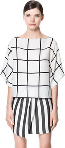 Checkered Blouse - neckline: slash/boat neckline; sleeve style: dolman/batwing; pattern: checked/gingham; style: blouse; predominant colour: ivory; occasions: casual, evening, work; length: standard; fibres: polyester/polyamide - 100%; fit: straight cut; sleeve length: 3/4 length; texture group: sheer fabrics/chiffon/organza etc.; pattern type: fabric; pattern size: standard