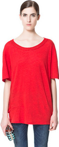Sweater With Elbow Length Sleeves - neckline: scoop neck; sleeve style: dolman/batwing; pattern: plain; length: below the bottom; style: standard; predominant colour: true red; occasions: casual; fibres: linen - 100%; fit: loose; sleeve length: half sleeve; texture group: knits/crochet; pattern type: knitted - fine stitch