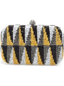 Geometric Beaded Evening Bag - predominant colour: black; occasions: evening, occasion; type of pattern: standard; style: clutch; length: hand carry; size: small; material: fabric; embellishment: beading; trends: statement prints, metallics, modern geometrics; finish: plain; pattern: patterned/print