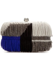 Beaded Evening Bag With Fringes - predominant colour: charcoal; occasions: evening, occasion; type of pattern: standard; style: clutch; length: hand carry; size: small; material: leather; embellishment: fringing; trends: modern geometrics; finish: plain; pattern: patterned/print