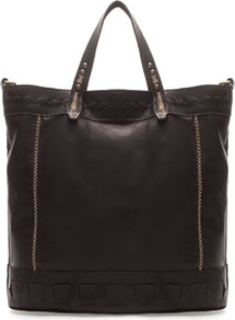 Ethnic Shopper - predominant colour: black; occasions: casual, work; type of pattern: light; style: tote; length: handle; size: oversized; material: leather; embellishment: studs; pattern: plain; finish: plain