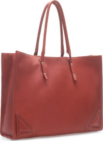 Leather Shopper With Metal Details - predominant colour: terracotta; occasions: casual, work; style: tote; length: handle; size: oversized; material: leather; embellishment: studs; pattern: plain; finish: plain