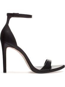 Leather Sandal - predominant colour: black; occasions: evening, occasion; material: leather; heel height: high; embellishment: buckles; ankle detail: ankle strap; heel: stiletto; toe: open toe/peeptoe; style: standard; finish: plain; pattern: plain