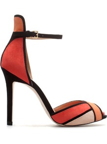 Ankle Strap Sandal - predominant colour: coral; occasions: evening, occasion; material: suede; heel height: high; ankle detail: ankle strap; heel: stiletto; toe: open toe/peeptoe; style: standard; trends: modern geometrics; finish: plain; pattern: colourblock