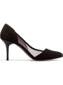 Mid Heel Court Shoes - predominant colour: black; occasions: evening, work, occasion; material: suede; heel height: high; heel: stiletto; toe: pointed toe; style: courts; finish: plain; pattern: plain
