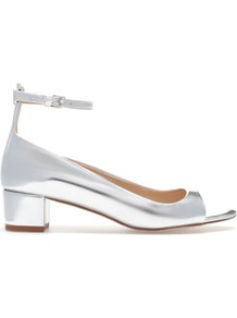 Metallic Sandals With Ankle Strap - predominant colour: silver; occasions: casual, evening, work, occasion; material: faux leather; heel height: mid; embellishment: buckles; ankle detail: ankle strap; heel: block; toe: open toe/peeptoe; style: courts; trends: metallics; finish: metallic; pattern: plain