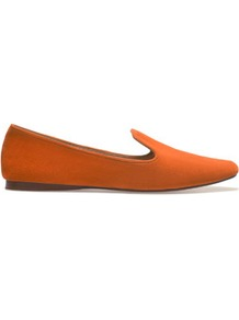 Soft Slipper With Edging - predominant colour: bright orange; occasions: casual, work; material: suede; heel height: flat; toe: round toe; style: loafers; finish: plain; pattern: plain