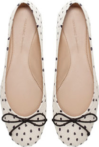 Polka Dot Ballerina Shoes - predominant colour: ivory; occasions: casual, evening, work; material: leather; heel height: flat; toe: round toe; style: ballerinas / pumps; finish: plain; pattern: polka dot; embellishment: bow