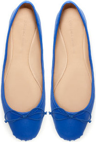 Ballerina - predominant colour: royal blue; occasions: casual, work; material: leather; heel height: flat; toe: round toe; style: ballerinas / pumps; finish: plain; pattern: plain; embellishment: bow