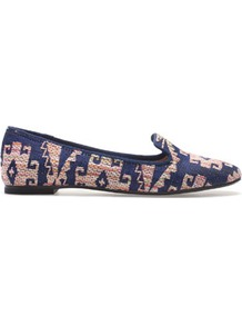 Fabric Slipper - predominant colour: navy; occasions: casual, work; material: fabric; heel height: flat; embellishment: embroidered; toe: round toe; style: loafers; trends: statement prints; finish: plain; pattern: patterned/print