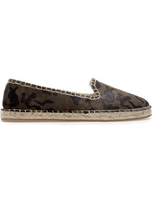 Leather Espadrille - predominant colour: dark green; occasions: casual, holiday; material: leather; heel height: flat; toe: round toe; style: ballerinas / pumps; finish: plain; pattern: patterned/print