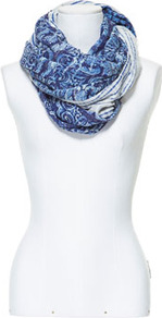 Blue Printed Scarf - predominant colour: royal blue; occasions: casual, work; type of pattern: heavy; style: regular; size: standard; material: fabric; pattern: patterned/print