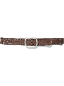 Soft Cut Work Leather Belt - predominant colour: chocolate brown; occasions: casual, work; type of pattern: small; style: classic; size: standard; worn on: hips; material: leather; pattern: plain; finish: plain