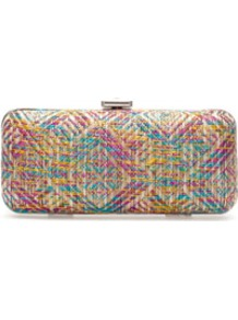Raffia Box Clutch - occasions: evening, occasion; predominant colour: multicoloured; type of pattern: heavy; style: clutch; length: hand carry; size: small; material: macrame/raffia/straw; finish: plain; pattern: patterned/print