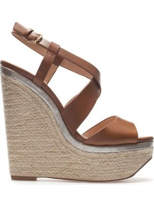 Wedge Espadrille - predominant colour: tan; occasions: casual, evening, occasion, holiday; material: faux leather; heel height: high; ankle detail: ankle strap; heel: wedge; toe: open toe/peeptoe; style: strappy; trends: metallics; finish: plain; pattern: plain