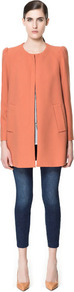 Coat With Gathering On The Shoulder - pattern: plain; collar: round collar/collarless; style: single breasted; length: mid thigh; predominant colour: coral; occasions: casual, work, occasion; fit: straight cut (boxy); fibres: polyester/polyamide - mix; shoulder detail: structured/bulky pleats/bulky detail at shoulder; sleeve length: long sleeve; sleeve style: standard; texture group: crepes; collar break: high; pattern type: fabric