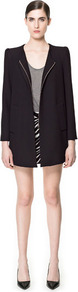 Coat With Box Sleeve - pattern: plain; shoulder detail: shoulder pads; hip detail: side pockets at hip; collar: round collar/collarless; style: single breasted; length: mid thigh; predominant colour: black; occasions: casual, evening, work, occasion; fit: straight cut (boxy); fibres: polyester/polyamide - mix; sleeve length: long sleeve; sleeve style: standard; collar break: high; pattern type: fabric; texture group: woven bulky/heavy