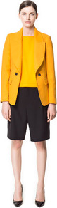 Double Breasted Blazer With Large Lapel - pattern: plain; collar: standard lapel/rever collar; predominant colour: yellow; occasions: casual, evening, work; length: standard; fit: tailored/fitted; fibres: cotton - 100%; style: double breasted tuxedo; waist detail: fitted waist; sleeve length: long sleeve; sleeve style: standard; texture group: cotton feel fabrics; collar break: medium; pattern type: fabric; pattern size: standard