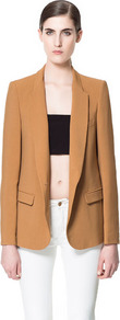 Blazer With Rounded Lapel - pattern: plain; style: single breasted blazer; length: below the bottom; collar: standard lapel/rever collar; predominant colour: tan; occasions: casual, work; fit: tailored/fitted; fibres: polyester/polyamide - 100%; sleeve length: long sleeve; sleeve style: standard; texture group: cotton feel fabrics; collar break: low/open; pattern type: fabric