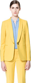 Wing Collared Blazer - pattern: plain; style: single breasted blazer; collar: shawl/waterfall; predominant colour: yellow; occasions: casual, evening, work, occasion; length: standard; fit: straight cut (boxy); fibres: cotton - mix; sleeve length: long sleeve; sleeve style: standard; texture group: cotton feel fabrics; collar break: low/open; pattern type: fabric
