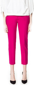 Cool Wool Trousers - pattern: plain; pocket detail: small back pockets, pockets at the sides; waist: mid/regular rise; predominant colour: hot pink; occasions: casual, evening, work, occasion, holiday; length: calf length; fibres: polyester/polyamide - mix; waist detail: narrow waistband; fit: slim leg; pattern type: fabric; texture group: woven light midweight; style: standard