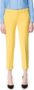 Straight Cut Trousers - pattern: plain; pocket detail: small back pockets, pockets at the sides; waist: mid/regular rise; predominant colour: yellow; occasions: casual, work, occasion, holiday; length: ankle length; fibres: cotton - mix; waist detail: narrow waistband; texture group: cotton feel fabrics; fit: straight leg; pattern type: fabric; style: standard