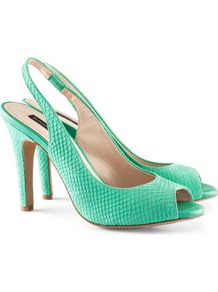 Suede Slingbacks - predominant colour: emerald green; occasions: evening, work, occasion; material: suede; heel height: high; ankle detail: ankle strap; heel: stiletto; toe: open toe/peeptoe; style: slingbacks; finish: plain; pattern: animal print