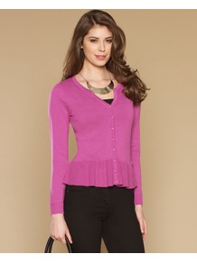 Tia Peplum Cardigan - neckline: v-neck; pattern: plain; predominant colour: pink; occasions: casual; length: standard; style: standard; fibres: cotton - 100%; fit: slim fit; waist detail: peplum detail at waist; sleeve length: long sleeve; sleeve style: standard; texture group: knits/crochet