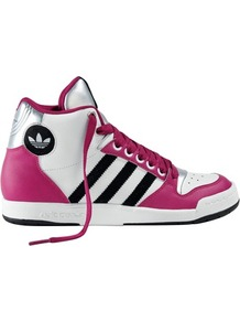 Midiru Mid Trainers - predominant colour: hot pink; occasions: casual; material: leather; heel height: flat; ankle detail: ankle tie; toe: round toe; style: trainers; trends: sporty redux; finish: metallic; pattern: striped; embellishment: applique