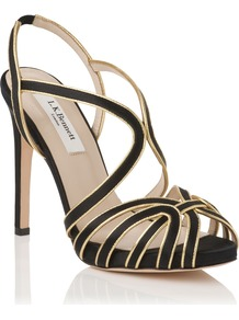 Brela Formal Sandal, Black - predominant colour: black; occasions: evening, occasion; material: satin; heel height: high; ankle detail: ankle strap; heel: stiletto; toe: open toe/peeptoe; style: strappy; trends: metallics; finish: plain; pattern: plain