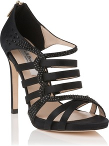 Capraia Formal Sandal, Black - secondary colour: silver; predominant colour: black; occasions: evening, occasion; material: satin; heel height: high; embellishment: crystals; ankle detail: ankle strap; heel: standard; toe: open toe/peeptoe; style: strappy; trends: metallics; finish: metallic; pattern: plain